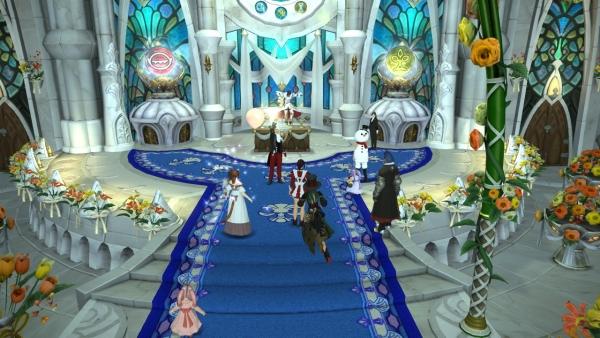 Les invités congratulent les mariés
